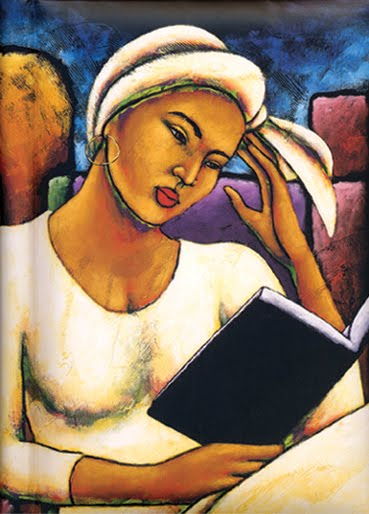 Painting of a black woman reading, with a considerate expression on her face
