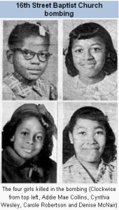 Picture of  four Black girls, Addie Mae Collins, Cynthia Wesley, Carole Robertson, and Denise McNair who were killed by the Klan during the 1963 16th Street Baptist Church bombing in Birmingham, Alabama