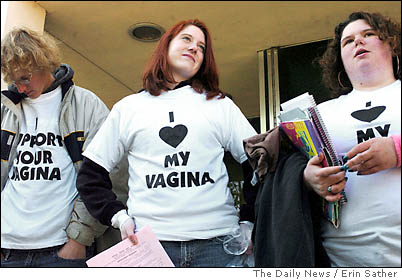 Two women in 'I heart my vagina shirts""